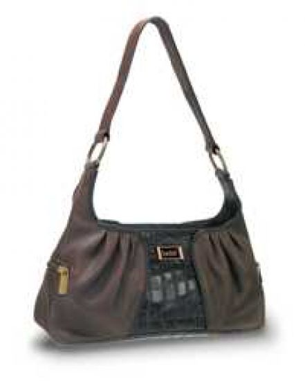 Brown Black Leather Handbag/Purse
