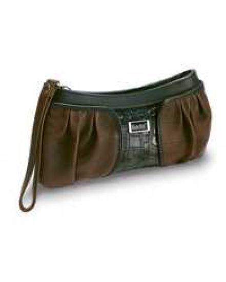 Brown/Black  Leather Wristlet